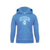 Youth Light Blue Fleece Hoodie-Arched UNCG w/Spartan