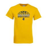 Gold T Shirt-Arched Basketball Design