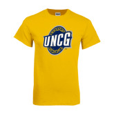 Gold T Shirt-UNCG Shield Distressed