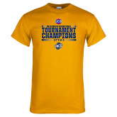 Gold T Shirt-2018 Mens Basketball Champions - Stacked