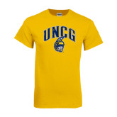 Gold T Shirt-Arched UNCG w/Spartan Distressed