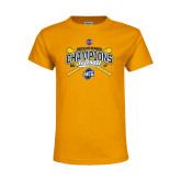 Youth Gold T Shirt-2017 SoCon Regular Season Softball Champions - Crossed Bats