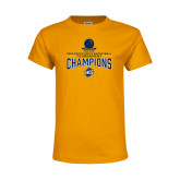 Youth Gold T Shirt-2018 Mens Basketball Champions - Net w/ Basketball