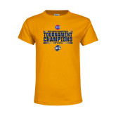 Youth Gold T Shirt-2018 Mens Basketball Champions - Stacked