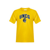 Youth Gold T Shirt-Arched UNCG w/Spartan