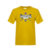 Youth Gold T Shirt-Baseball SoCon Champions 2017 - Crossed Sticks