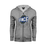 Ladies Grey Fleece Full Zip Hoodie-UNCG Shield