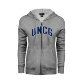 Ladies Grey Fleece Full Zip Hoodie-Arched UNCG