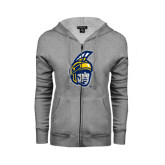 Ladies Grey Fleece Full Zip Hoodie-Spartan Head