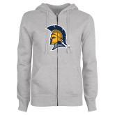 ENZA Ladies Grey Fleece Full Zip Hoodie-Spartan Logo