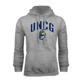 Grey Fleece Hoodie-Arched UNCG w/Spartan