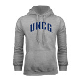 Grey Fleece Hoodie-Arched UNCG