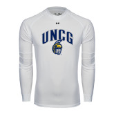 Under Armour White Long Sleeve Tech Tee-Arched UNCG w/Spartan