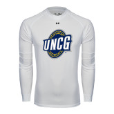 Under Armour White Long Sleeve Tech Tee-UNCG Shield