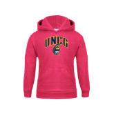 Youth Raspberry Fleece Hoodie-Arched UNCG w/Spartan