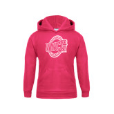 Youth Raspberry Fleece Hoodie-UNCG Shield