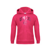 Youth Raspberry Fleece Hoodie-Arched UNCG w/Spartan Foil