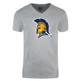 Next Level V Neck Heather Grey T Shirt-Spartan Logo