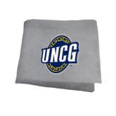 Grey Sweatshirt Blanket-UNCG Shield
