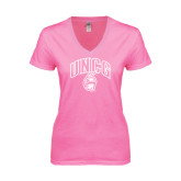 Next Level Ladies Junior Fit Deep V Pink Tee-Arched UNCG w/Spartan