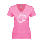 Next Level Ladies Junior Fit Deep V Pink Tee-UNCG Shield