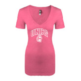 Next Level Ladies Vintage Pink Tri Blend V-Neck Tee-Arched UNCG w/Spartan