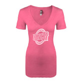 Next Level Ladies Vintage Pink Tri Blend V-Neck Tee-UNCG Shield