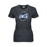 Ladies Dark Heather T Shirt-UNCG Shield