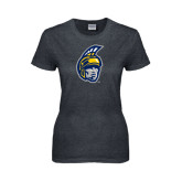 Ladies Dark Heather T Shirt-Spartan Head