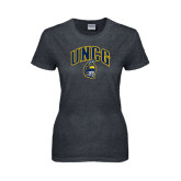 Ladies Dark Heather T Shirt-Arched UNCG w/Spartan Distressed