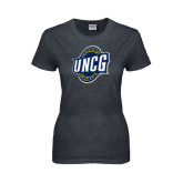 Ladies Dark Heather T Shirt-UNCG Shield Distressed