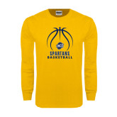 Gold Long Sleeve T Shirt-Stacked Basketball