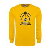 Gold Long Sleeve T Shirt-Stacked Basketball