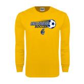 Gold Long Sleeve T Shirt-Soccer Ball Design