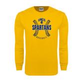 Gold Long Sleeve T Shirt-Basball Ball Design