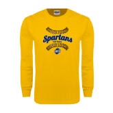 Gold Long Sleeve T Shirt-Softball Ball Design