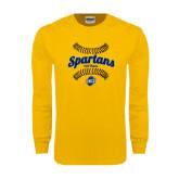 Gold Long Sleeve T Shirt-Softball Ball Design