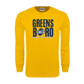 Gold Long Sleeve T Shirt-Greensboro Stacked with Shield