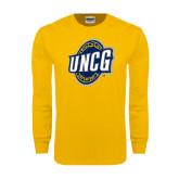 Gold Long Sleeve T Shirt-UNCG Shield Distressed