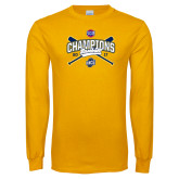 Gold Long Sleeve T Shirt-Baseball SoCon Champions 2017 - Crossed Sticks