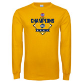 Gold Long Sleeve T Shirt-Baseball SoCon Champions 2017 - Diamond