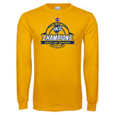 Gold Long Sleeve T Shirt-2017 SoCon Regular Season Basketball Champions - Banner