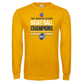 Gold Long Sleeve T Shirt-2017 SoCon Regular Season Basketball Champions - Stacked