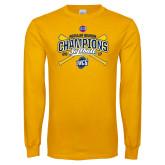 Gold Long Sleeve T Shirt-2017 SoCon Regular Season Softball Champions - Crossed Bats