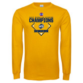 Gold Long Sleeve T Shirt-2017 SoCon Regular Season Softball Champions - Diamond