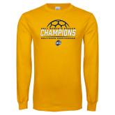 Gold Long Sleeve T Shirt-2017 Womens Soccer Champions