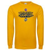 Gold Long Sleeve T Shirt-2018 Mens Basketball Champions - Brush