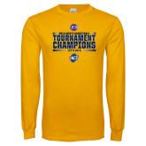 Gold Long Sleeve T Shirt-2018 Mens Basketball Champions - Stacked