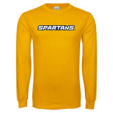 Gold Long Sleeve T Shirt-Spartans Wordmark