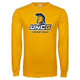 Gold Long Sleeve T Shirt-UNCG Spartans Stacked